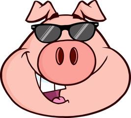 Happy Pig Head Cartoon Mascot Character
