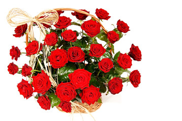 Decoration beautiful red roses in a basket