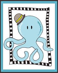 Cute octopus card in scrapbooking style