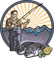 Fisherman Illustration in Woodcut Style