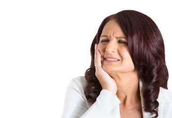 Headshot woman with sensitive tooth ache on white background