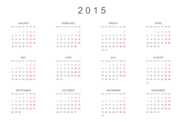 2015 Calendar isolated on white background