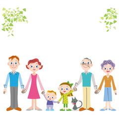 手をつなぐ仲良し三世代の外国人家族
