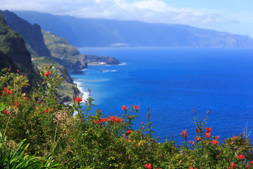 View of beautiful  northern coast of Madeira, Portugal