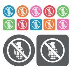 No Grenades Icon. Prohibited Signs Icons Set. Round And Rectangl