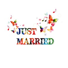 Just married inspirational banner