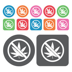 No Marijuana Icon. Prohibited Signs Icons Set. Round And Rectang