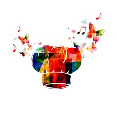 Colorful vector chef hat background with butterflies