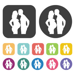 Pregnant woman with a man icon. Wedding, bride and groom, love,