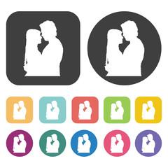 Couple hugging icon. Wedding, bride and groom, love, celebration