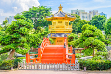 Gold Chinese pavilion at the park of Hong Kong