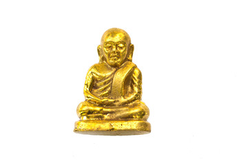 small buddha image used as amulets on white background