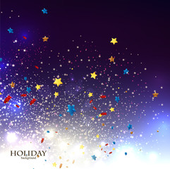 Abstract Christmas background with stars confetti for xmas desig