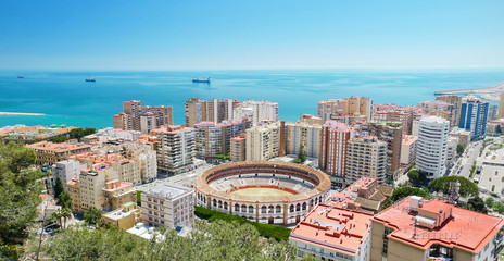 Scenic aerial view of Malaga city, Andalusia, Spain.
