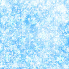Abstract snowy background with snowflakes, stars and fun confett