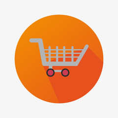 Shopping Cart For Commerce In a Orange Circle With Long Shadow