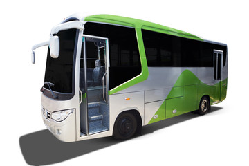Big green tour bus