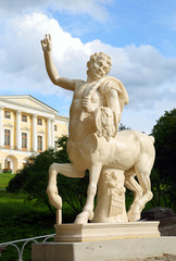 centaur on bridge and palace in Pavlovsk park