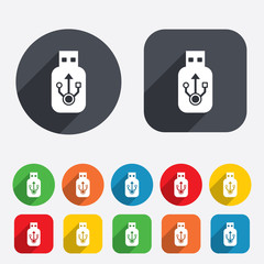 Usb sign icon. Usb flash drive stick symbol.