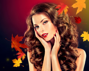 Girl with colourful autumn leaves hairstyl , makeup