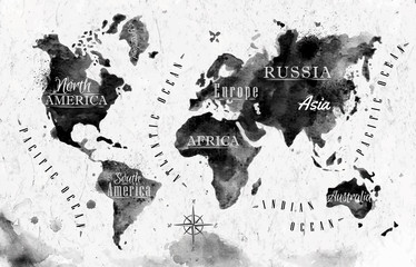 Poster de jardin Carte du monde Ink world map