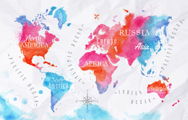Poster de jardin Carte du monde Watercolor world map pink blue