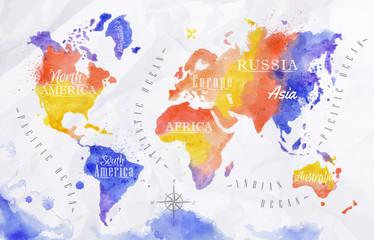 Spoed Foto op Canvas Wereldkaart Watercolor world map red purple