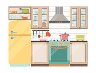 Kitchen interior. Kitchen appliances and utensils