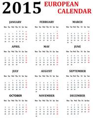 Simple European Calendar for 2015.