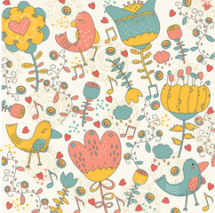 Birdy in the wonderland whimsical illustration