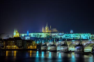 Карлов мост ночью. Чехия