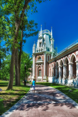 Фрагмент дворца Екатерины в Москве в парке Царицыно