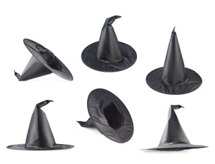 Black pointed cone shaped hat