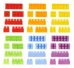 Set of toy construction blocks isolated