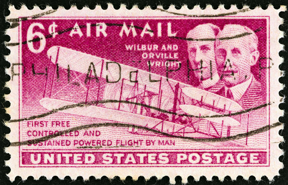 Wright brothers and Wright Flyer I plane (USA 1949)