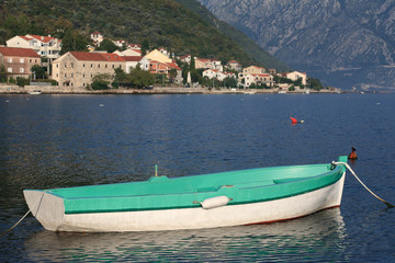 Greenfishing boat near the village Stoliv in Montenegro.