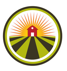 Sun agriculture landscape and farm harvest label icon logo