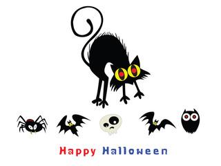 Vector Cat and  bats illustrations : Cartoon style