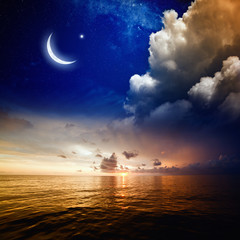 Sunset, sea and moon