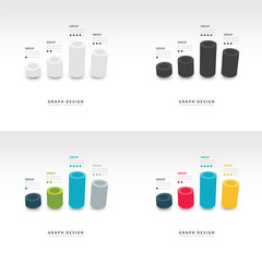 vector cylinder infographic 3d graph template set