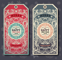 Christmas labesl for Xmas and New Year holidays design. Snowflak