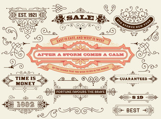 Vector. Set of calligraphic design elements: Labels, banners, ba