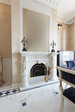 Marble fireplace in luxury villa