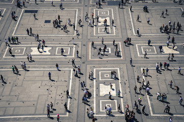 Lifestyle miniature - People and their life on city square.