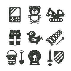 Set of vector monochrome kids toys in flat style