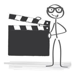 Regisseur hält Filmklappe - Filmklappe zum beschriften