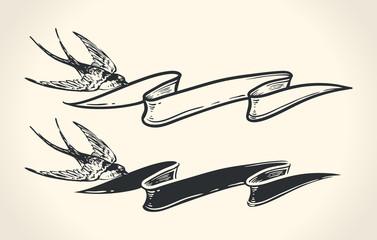 Vintage illustration of bird holding ribbon