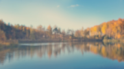 Defocused autumn view with vibrant golden, orange colors and bok