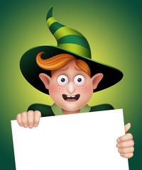 excited boy holding blank banner, Halloween illustration