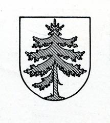 Coat of arms of Subate, Latvia ca. 1930